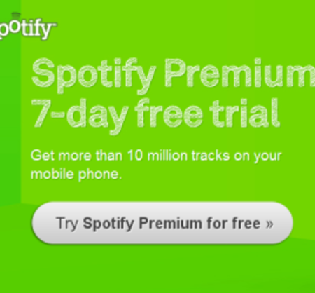 Spotify Premium offers 7-day free trials
