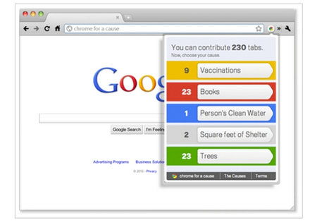 Google Chrome charity fundraiser counts your tabs