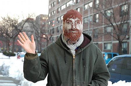 Self-portrait balaclava made with Brother knitting machine hack
