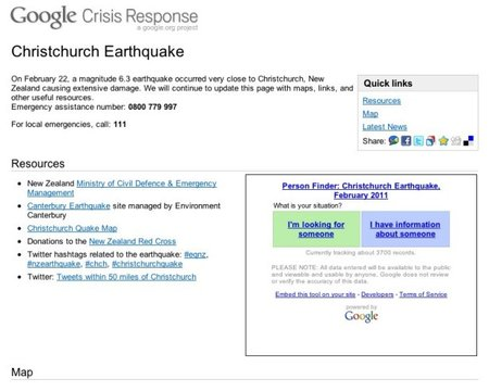 Google Crisis Response page goes live for Christchurch earthquake