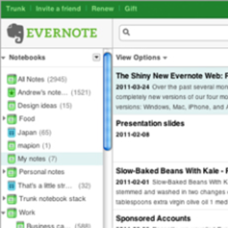 Evernote web app undergoes spring clean