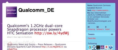 Qualcomm confirms HTC Sensation, will have dual-core 1.2Ghz processor