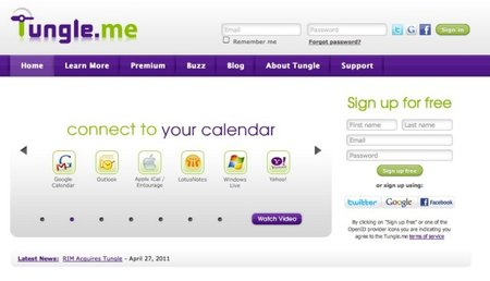 RIM buys Cloud calendar Tungle.me