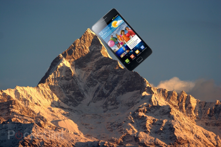 Samsung Galaxy S II on top of the world....literally