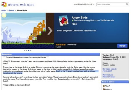 Angry Birds now on Chrome