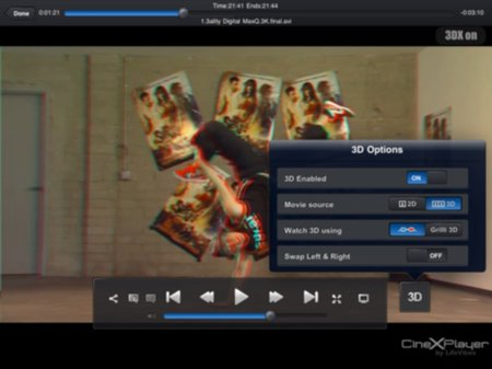 CineXPlayer update means glasses-free 3D movies on your iPad