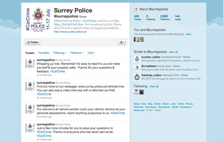 Surrey Police to use Twitter to inform of vehicle related theft