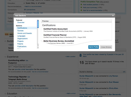 Student profile support hits LinkedIn