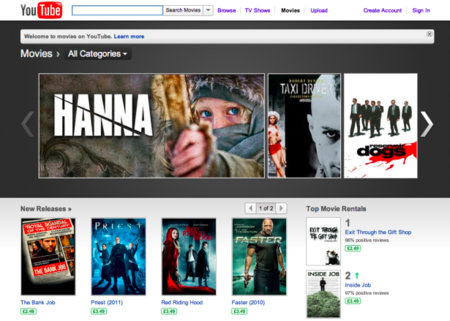 YouTube Movie Rentals launched in UK