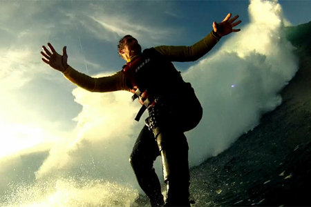 Garrett McNamara 90 foot wave surf world record filmed on GoPro camera (video)