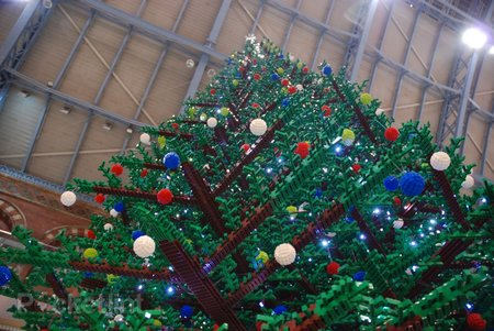LEGO Christmas tree decks the halls at St. Pancras Station