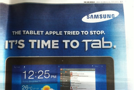 Samsung thanks Apple for Galaxy Tab 10.1 help down under