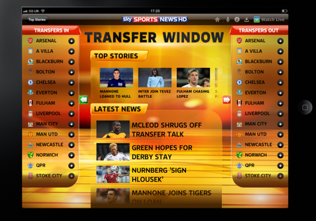 Sky Sports News iPad app kicks-off