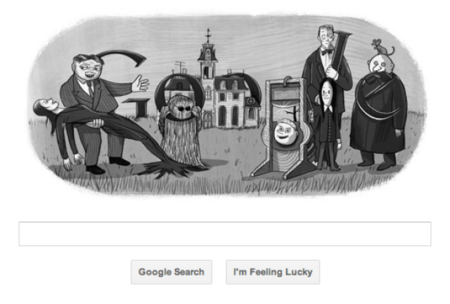 Addams family Google doodle says happy birthday Charles Addams