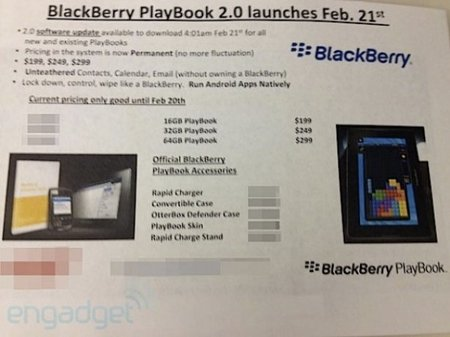 BlackBerry PlayBook 2.0 update landing 21 February claims leaked document