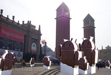 Which MWC 2012 devices launch with Ice Cream Sandwich?