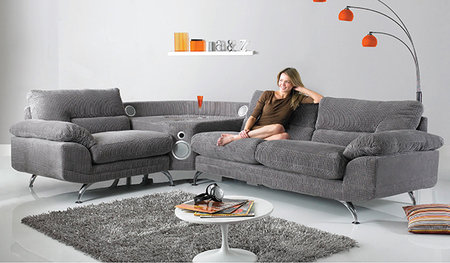 Sound Sofa: Lounge around with 2.1 sound - iPhone dock and Bluetooth built in