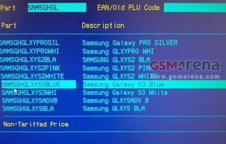Samsung Galaxy S III available in blue or white leaks in Carphone Warehouse internal systems