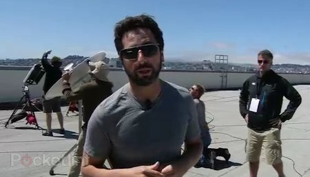 Sergey Brin shows off Google Project Glass sunglasses