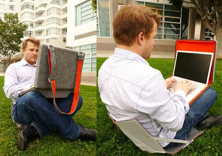 OpenAire laptop bag transforms into a chair and mobile workdesk - photo 3