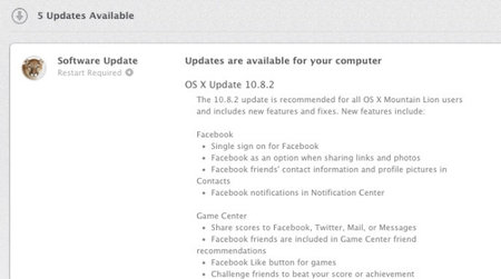 Apple OS X 10.8.2 adds Facebook sharing to the desktop