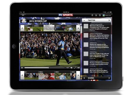 Ryder Cup 2012 live streams added to Sky Sports iPad app