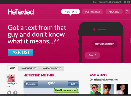 WEBSITE OF THE DAY: HeTexted