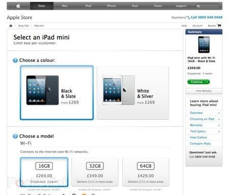 16GB iPad mini UK pre-orders already sold out, all white versions two week delay