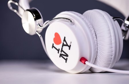 Snug Headphones emblazoned with classic 'I Love New York' logo