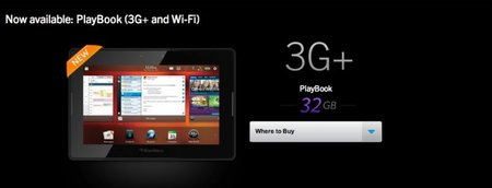 BlackBerry PlayBook 3G+ now on sale in the UK