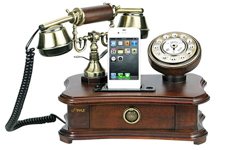 Pretend you're in Downton Abbey with the Pyle retro home telephone iPhone dock