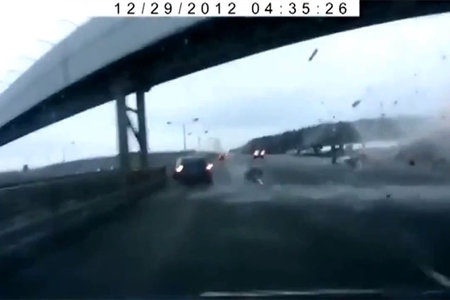 Russian plane crash caught on car dash cam as debris hits (video)