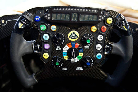 New Lotus F1 steering wheel has Tweet button