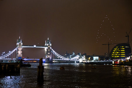 Star Trek light display hovers over London to celebrate Earth Hour, LED quadrocopters in formation