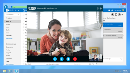 Skype integrated with Outlook.com, call and IM from your email