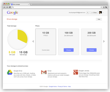 Google now shares 15GB of storage between Drive, Gmail and Google+ Photos