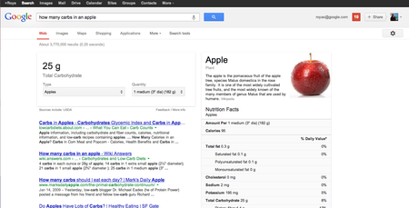 Google Search adds nutritional data for over 1,000 foods