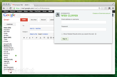 Evernote's Web Clipper in Chrome now saves Gmail emails and attachments