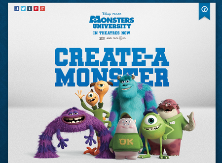 Website of the day: Monsters University - create your own