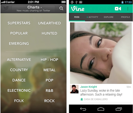 Twitter adds genres to #Music for iOS, front camera support to Vine for Android