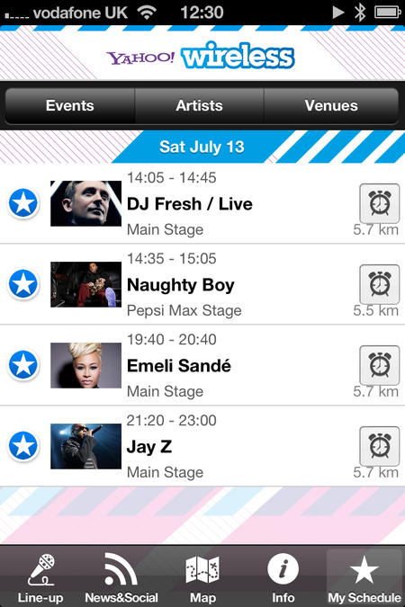 App of the day: Yahoo! Wireless Festival 2013 (iOS / Android / Blackberry) - photo 7