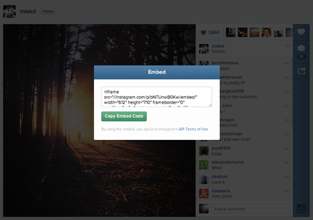 Instagram launches web embeds on desktop site for photos and videos