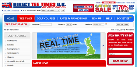 Website of the day: Direct Tee Times