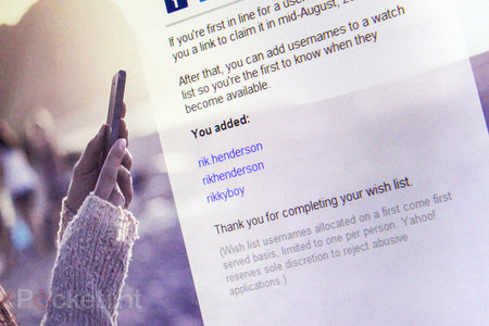 Yahoo invites you to create a wish list of the email accounts and usernames you've always wanted