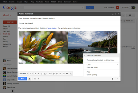 Google introduces full-screen option for new compose window in Gmail