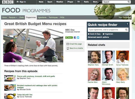 Website of the day: Great British Budget Menu