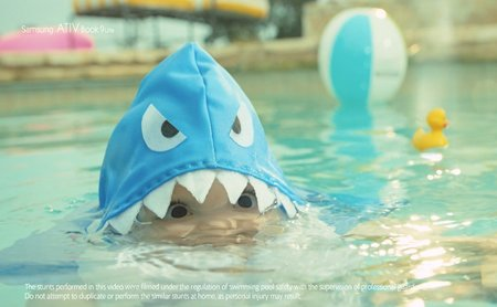 Samsung Shark Baby Attack promotes the ATIV Book 9 Lite, no really