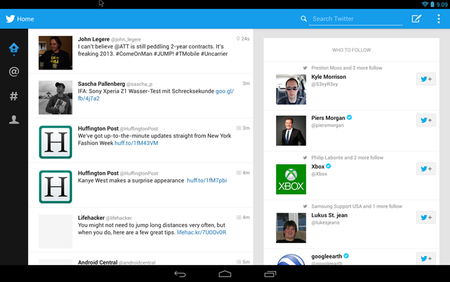 Tablet-optimized version of Twitter for Android leaks with two column design