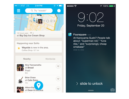 Foursquare for iPhone updated with real-time push recommendations