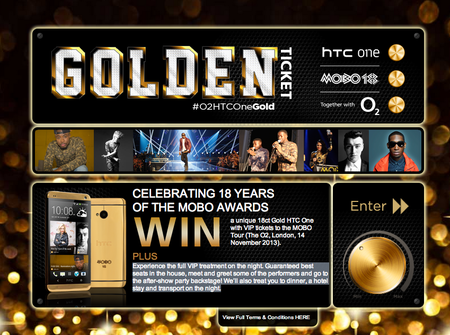 Want to win an 18 carat gold HTC One worth £2000? Just enter O2's MOBO Awards contest